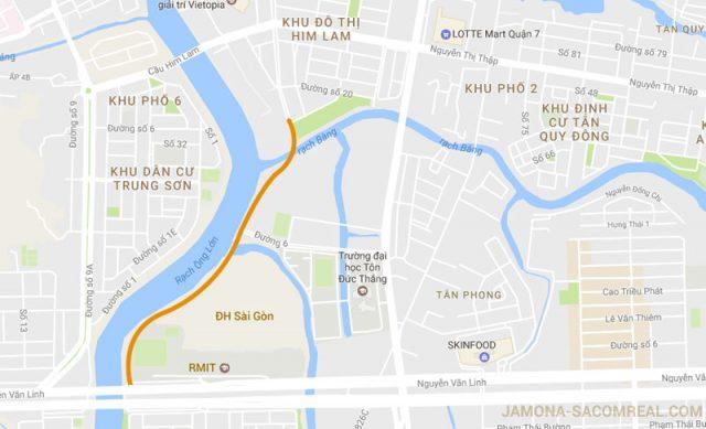 Ảnh minh họa tuyến đường kết nối D1- khu đất ĐH Sài Gòn- đường Nguyễn Văn Linh