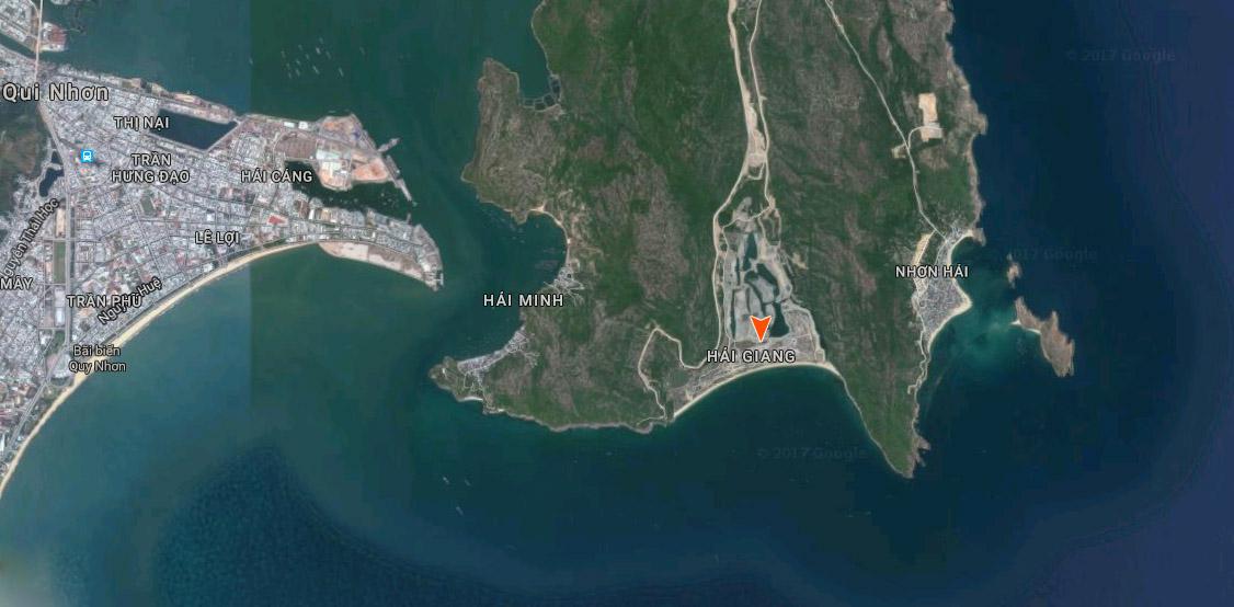 Vị trí biệt thự biển Vinpearl Quy Nhơn tại bãi biển Hải Giang.