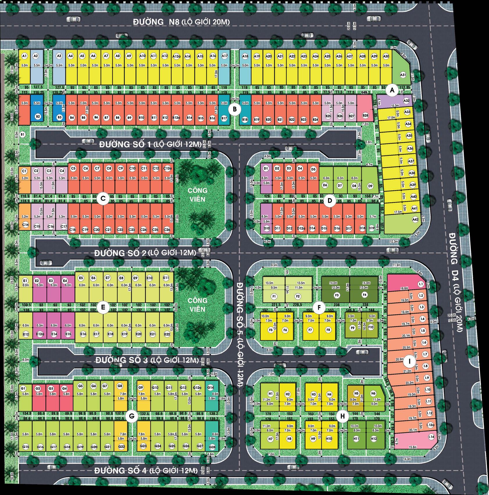 Mặt bằng phân lô đất nền dự án Jamona City
