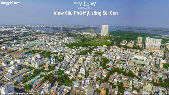 Căn hộ The View, view trực diện nhìn cầu Phú Mỹ, sông Sài Gòn.