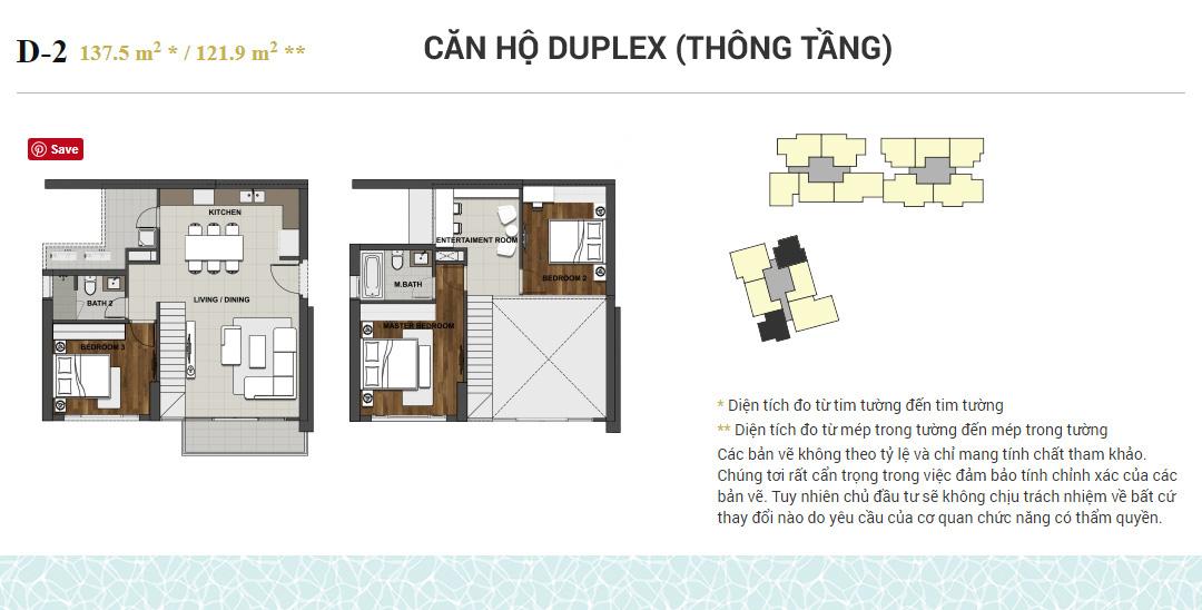 D (DUPLEX) CĂN HỘ TÔNG TẦNG 3 PHÒNG NGỦ.