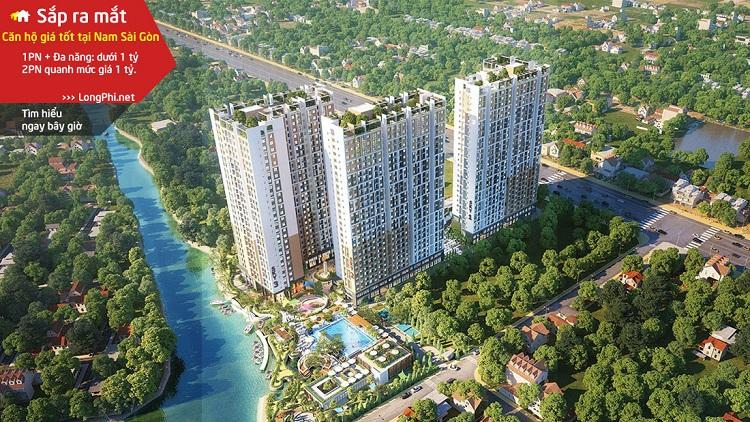Phối cảnh tổng thể có thiết kế khá bắt mắt của dự án căn hộ Sky Symphony Nhà Bè - Khải Hoàn Land.