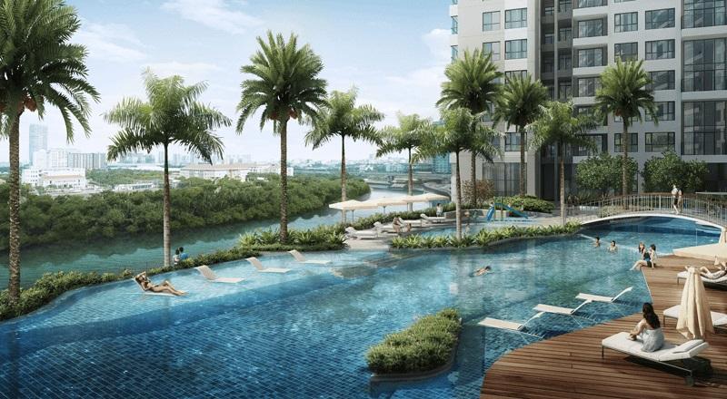 View nhìn hồ bơi và cảnh quan, trải rộng về Phú Mỹ Hưng tại căn hộ The View quận 7.
