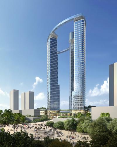 Phối cảnh tổng thể tháp đôi Cocobay Towers trong dự án Cocobay Đà Nẵng.