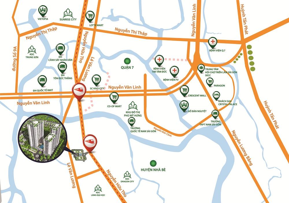 Bản đồ vị trí dự án Hưng Phát Silver Star Nhà Bè.