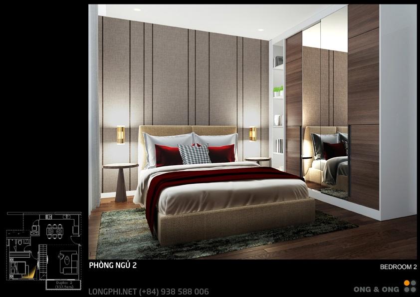 Phối cảnh thiết kế phòng ngủ 2 cho căn hộ The View - Riviera Point (Ong & Ong).