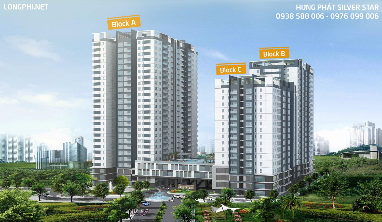 Phối cảnh tổng thể dự án căn hộ Hưng Phát Silver Star nhìn từ đường Nguyễn Hữu Thọ.