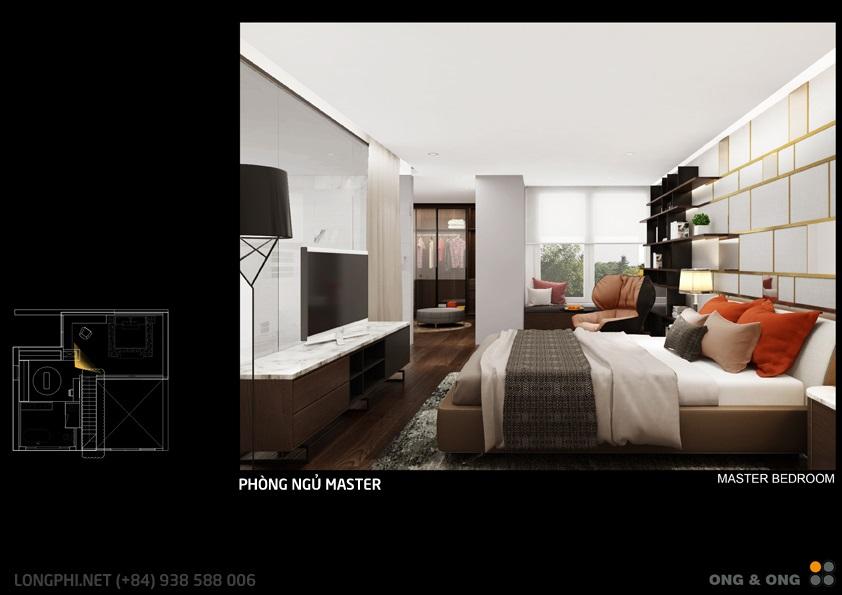 Phối cảnh thiết kế phòng ngủ chính (Master) từ góc nhìn khác cho căn hộ The View - Riviera Point (Ong & Ong).