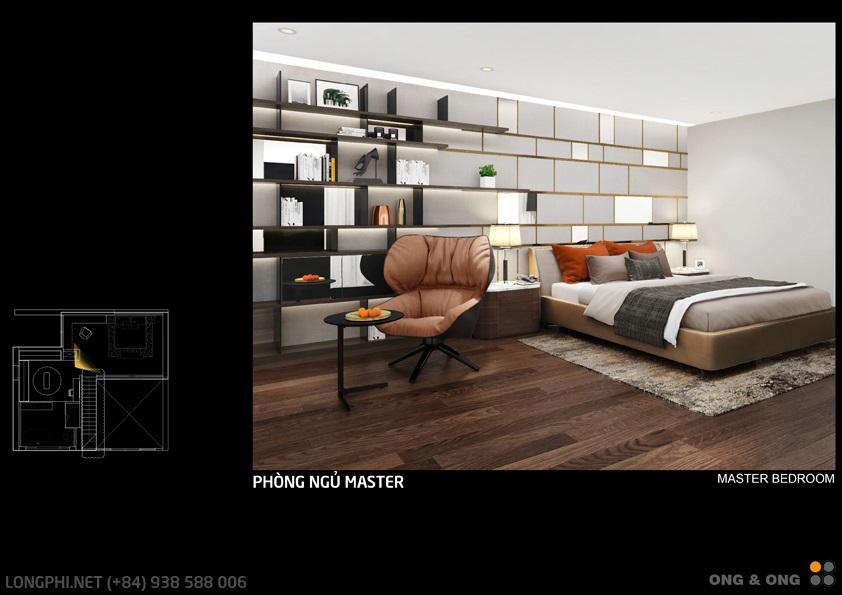 Phối cảnh thiết kế phòng ngủ chính (Master) cho căn hộ The View - Riviera Point (Ong & Ong).