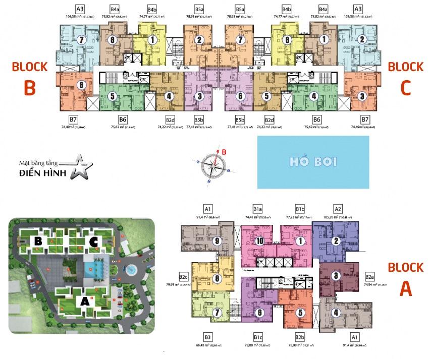 Mặt bẳng tổng thể các block chung cư A B C tại dự án Hưng Phát Silver Star.