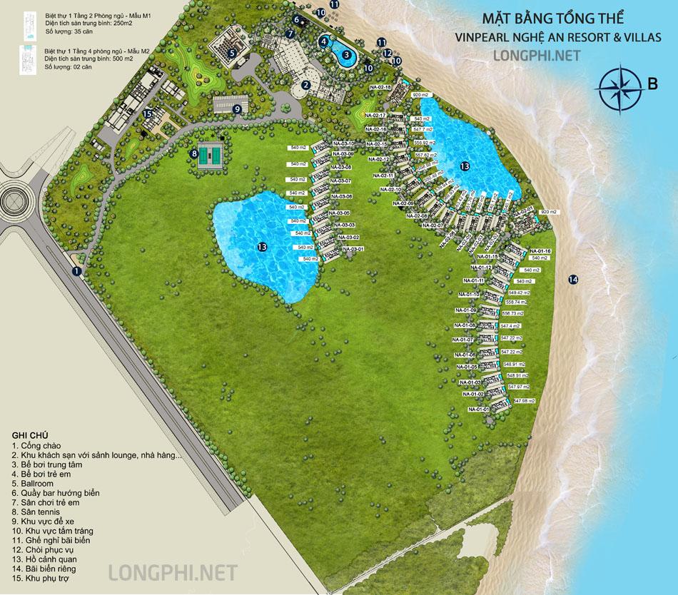 Mặt bằng tổng thể dự án biệt thự biển Vinpearl Nghệ An Cửa Hội.
