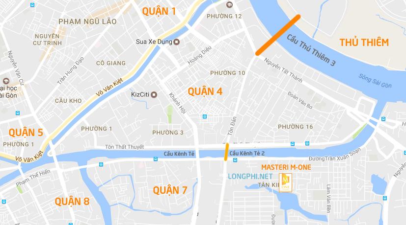 Căn hộ Masteri M-One Nam Sài Gòn có vị trí liên kết vùng thuận lợi.