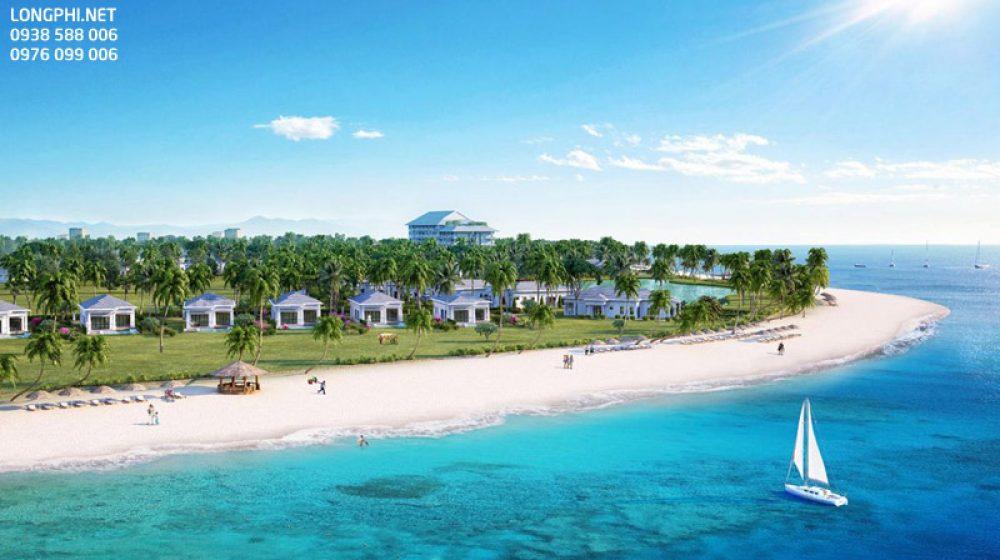 Bãi biển riêng của khu biệt thự.
