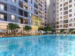 Một hình ảnh phối cảnh tiện ích hồ bơi trong dự án căn hộ M-One Nam Sài Gòn quận 7 (officetel).