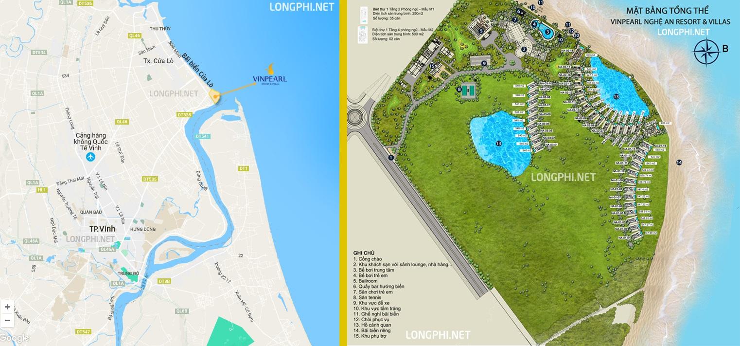Vị trí dự án biệt thự biển Vinpearl Cửa Hội - Nghệ An resort & villas.