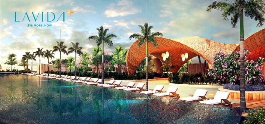 Phối cảnh hồ bơi tại dự án Lavida Plus tại tầng 6 khối Thương Mại thuộc block C.