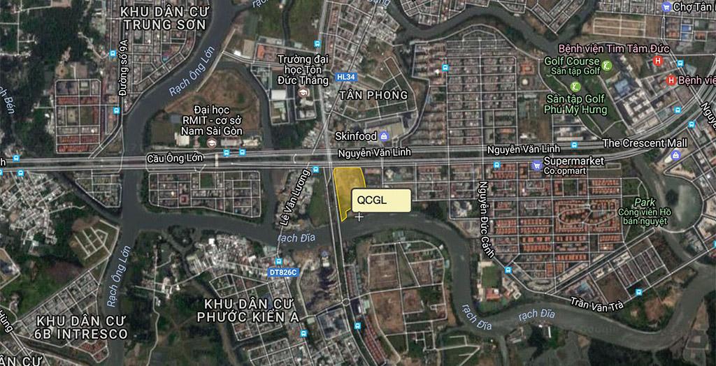 Dự án căn hộ Quốc Cường Gia Lai góc ngã tư Nguyễn Hữu Thọ - Nguyễn Văn Linh quận 7.
