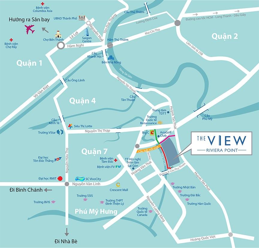 Vị trí dự án căn hộ The View - Riviera Point quận 7 - Keppel Land.