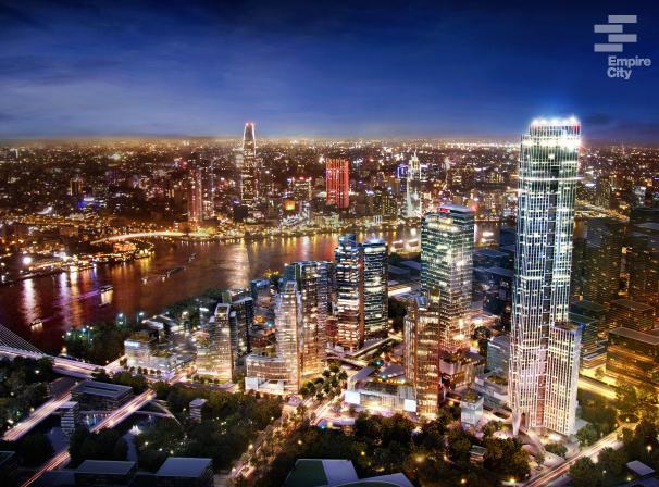 Phối cảnh về đêm dự án Empire City (Thành phố Đế Vương) Keppel Land tại bán đảo Thủ Thiêm quận 2.