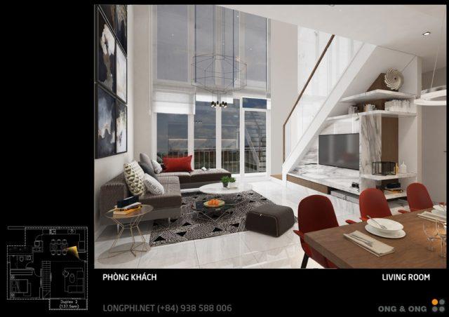 Ảnh phối cảnh thiết kế phòng khách căn hộ duplex The View - Riviera Point (Design: Ong & Ong)