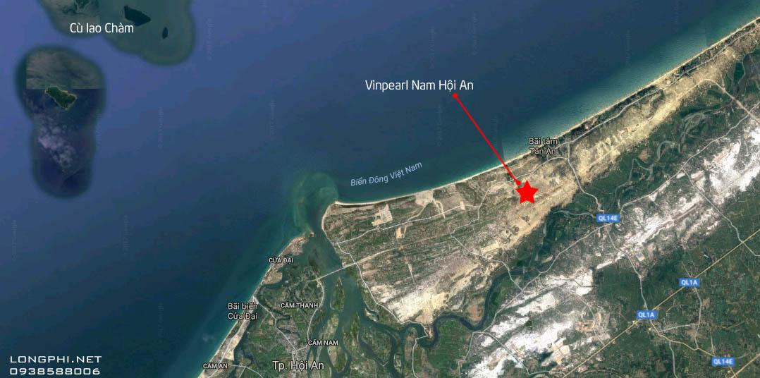 Vị trí dự án biệt thự biển nghỉ dưỡng Vinpearl Nam Hội An (Quảng Nam).