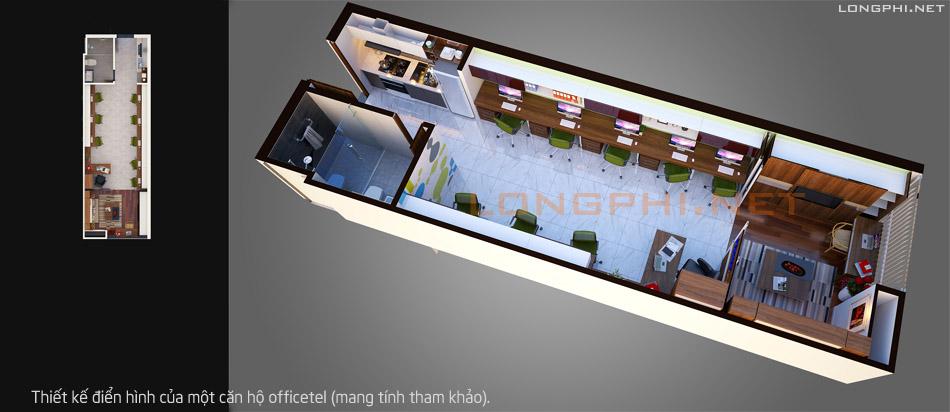 Một thiết kế điển hình của căn hộ officetel (tham khảo).