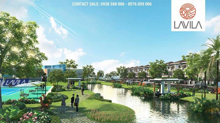 Một góc bờ hồ cảnh quan Lavila 4.3 hecta: điểm nhấn cảnh quan, tư vấn thiết kế bởi Sala Design Group.