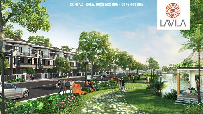 Phối cảnh nội khu nhà phố và góc cảnh quan trong dự án Lavila của Kiến Á.