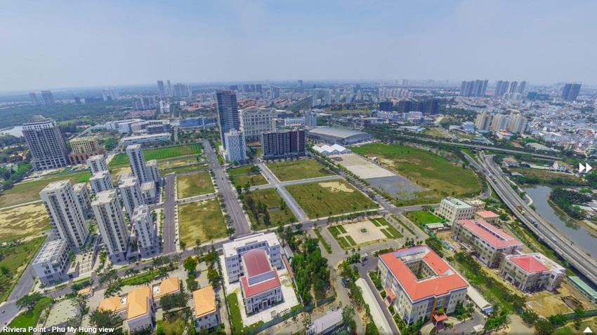 Hướng nhìn toàn cảnh khu Nam Sài Gòn Phú Mỹ Hưng từ Penthouse The View Riviera Point tháp 8.