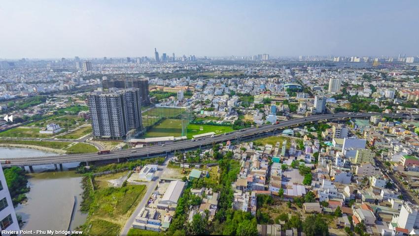 Hướng nhìn toàn cảnh khu Nam Sài Gòn & Phú Mỹ Hưng từ Penthouse The View Riviera Point tháp 8.