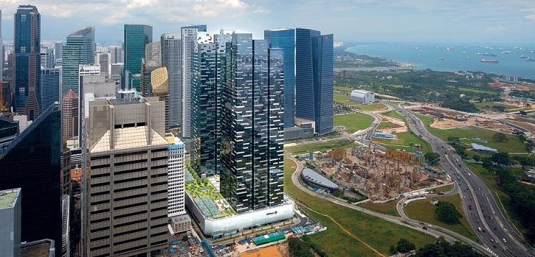 Tổng thể 2 tháp 1 và 2 tại Asia Square - Singapore.