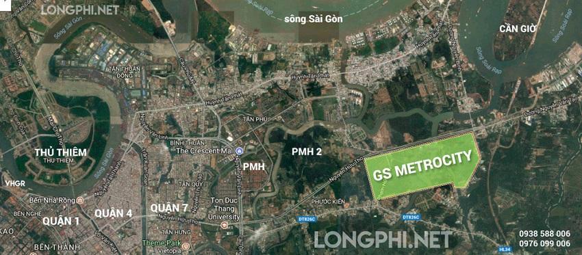 Bản đồ vị trí dự án GS Metrocity Nhà Bè tại Nam Sài Gòn.