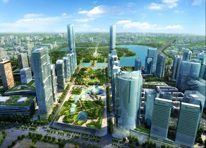 Ảnh phối cảnh một góc cảnh quan và công trình trong khu đô thị GS Metrocity Nhà Bè.