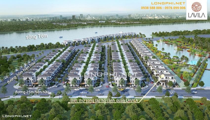 Phối cảnh nhìn từ đường Nguyễn Hữu Thọ: biệt thự song lập ven hồ cảnh quan LAVILA Nhà Bè của Kiến Á.