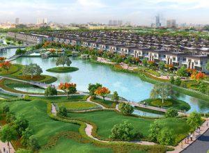 Phối cảnh dự án Lavila - biệt thự song lập ven hồ cảnh quan.
