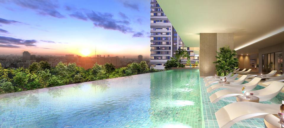 Phối cảnh hồ bơi tràn tầng cao tại dự án Kingdom 101 Q10.