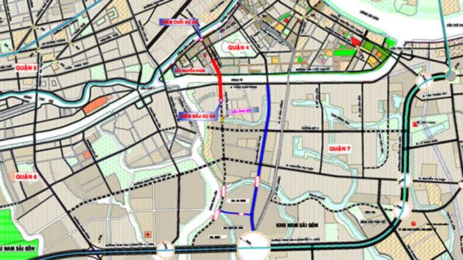 Vị trí quy hoạch cầu Nguyễn Khoái kết nối quận 7 và quận 4.