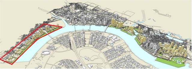 Phối cảnh tổng thể dự án khu đô thị phức hợp Nhà Rồng Khánh Hội quận 4 ven sông Sài Gòn.
