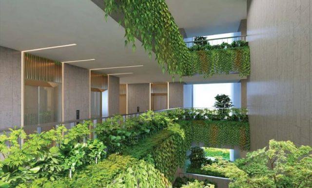 Phối cảnh một góc vườn treo bên trong dự án Kingdom 101 bố trí xen kẽ tại các tầng.