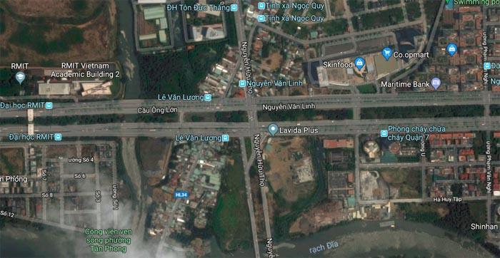 Nút giao thông khu vực đường Nguyễn Văn Linh - Nguyễn Hữu Thọ được kỳ vọng sẽ giảm áp lực kẹt xe cho khu vực này.