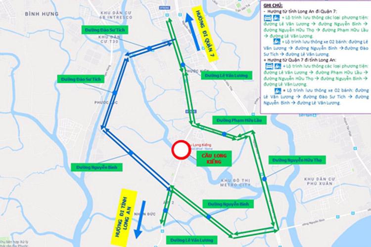 Lộ trình di chuyển về hướng trung tâm và Nhơn Đức - Long An trong khi cầu Long Kiểng được khắc phục.