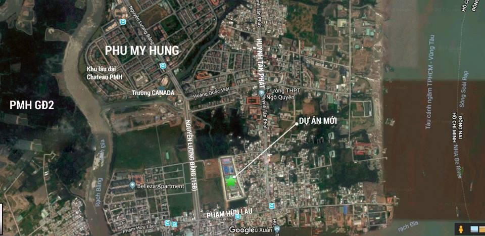 Bản đồ vị trí dự án biệt thự Green Star quận 7 - Hưng Lộc Phát.