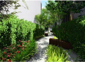 Cây xanh được bố trí dọc theo những lối đi, thanh lọc không khí và giảm nhiệt độ nội khu dự án.