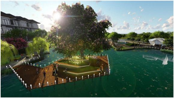 Hồ cảnh quan Thiên Đường (Paradise) là điểm nhấn cảnh quan cho dự án Hưng Phát Green Star quận 7.