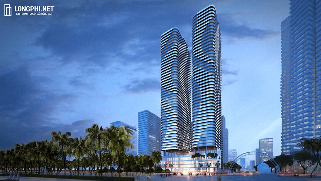 Phối cảnh tổng thể 2 tòa tháp đôi condotel T&T Twin Towers.