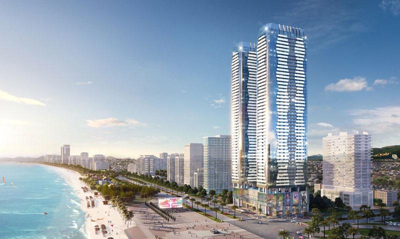 Phối cảnh ban ngày tháp căn hộ tại dự án condotel T&T Twin Towers Đà Nẵng.