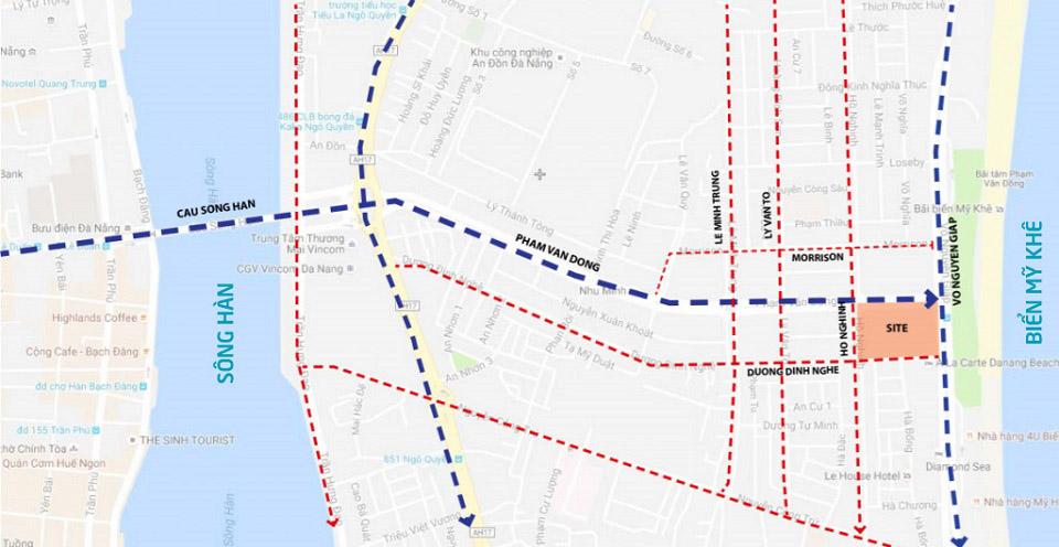 Bản đồ vị trí dự án căn hộ condotel T&T Twin Towers Đà Nẵng.