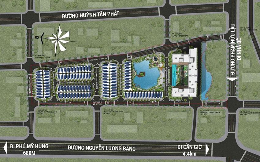 Vị trí khu đất và quy hoạch giao thông tại dự án biệt thự Green star quận 7 - Hưng Lộc Phát.