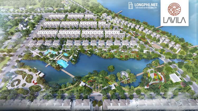 Biệt thự đơn lập Lavila De Rio thừa hưởng toàn bộ tiện ích dự án Lavila, công viên hồ cảnh quan 4.3 hectare.