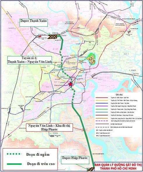 Bản đồ tuyến metro số 4 Thạnh Xuân - Hiệp Phước.